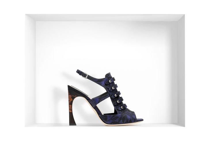 Сандалии из жаккарда темно-синего цвета, 10 см - Dior