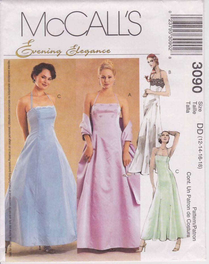 Formal Dress Pattern Prom Dress Evening Gown Pattern Long Dress  Size 12 - 16  McCalls 3090 by PrettyfulPatterns on Etsy https://www.etsy.com/listing/181164086/formal-dress-pattern-prom-dress-evening