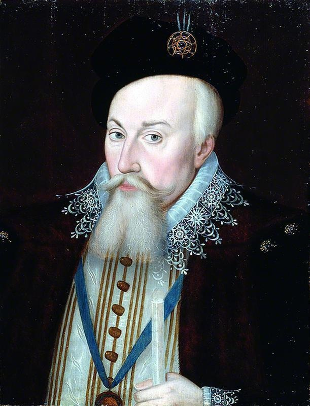 Robert Dudley (1533–1588), Earl of Leicester, later in life.  He was Queen Elizabeth's favourite gentleman of the court and secretly married her cousin, Lettice Knollys.  She was the mother of another of Elizabeth's favourites, Robert Devereaux.