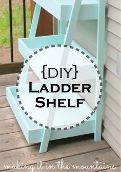 This DIY Ladder Shelf is easy to make and perfect for displaying plants and herbs!