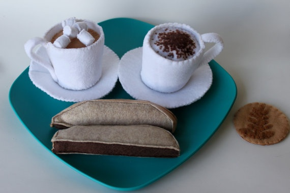 Felt food Coffee Break Coffee latte cappuccino by PlayWithMyFood, $24.50