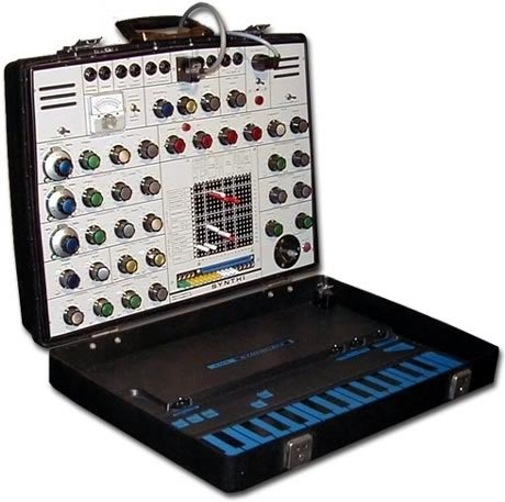 EMS Synthi AKS - A synth in a suitcase! Used by Brian Eno (solo albums, Fripp/Eno, David Bowie's Low (1977)), Pink Foyd (Dark Side of The Moon (1973)) & Jean Michel Jarre (Oxygéne (1976) and Equinoxe (1978)) as well as many other bands and artists.
