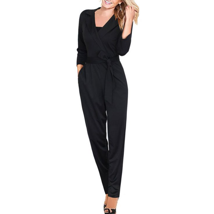 2016 Womens rompers Autumn Club Party V-neck jumpsuit Long Sleeves Loose Jumpsuit One-Piece Elegant Sexy jumpsuit Work playsuit