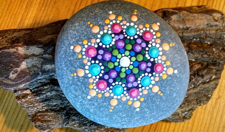 Coral Star Mandala ~ Hand Painted beach stone by Miranda Pitrone~ Rocks~ Dot Art ~Gift Idea by P4MirandaPitrone on Etsy