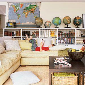 .Schools Room, Maps, Globes, Livingroom, Living Room, Bookcas, Coastal Living, House, Families Room