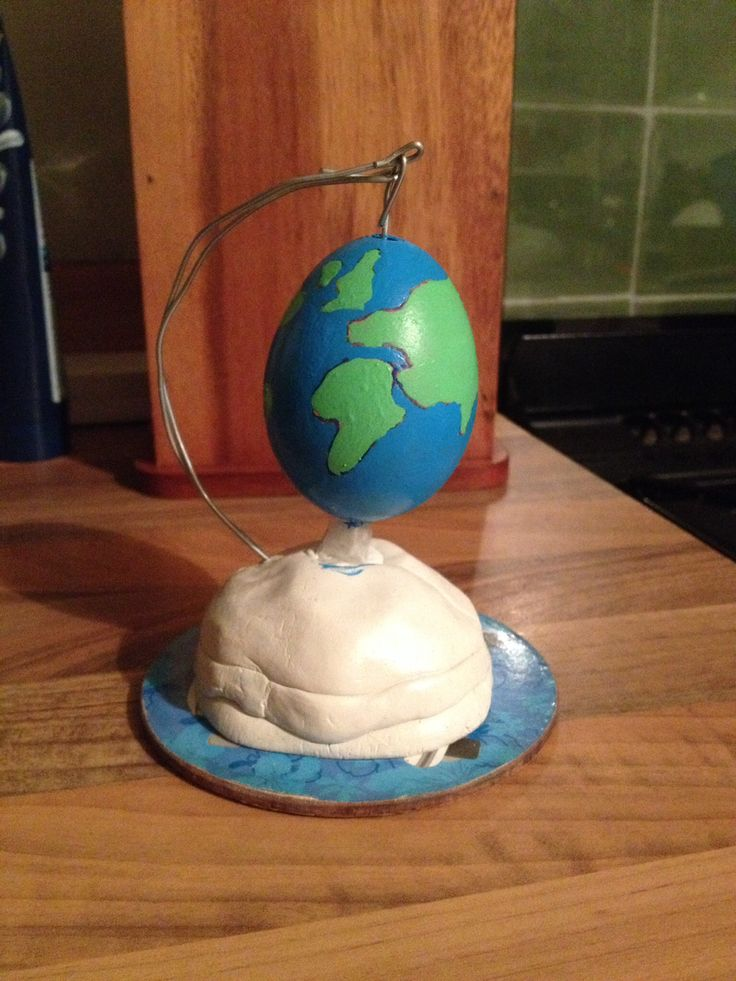 Decorate an egg ....Our creation for my sons Easter egg competition at school. Globe.