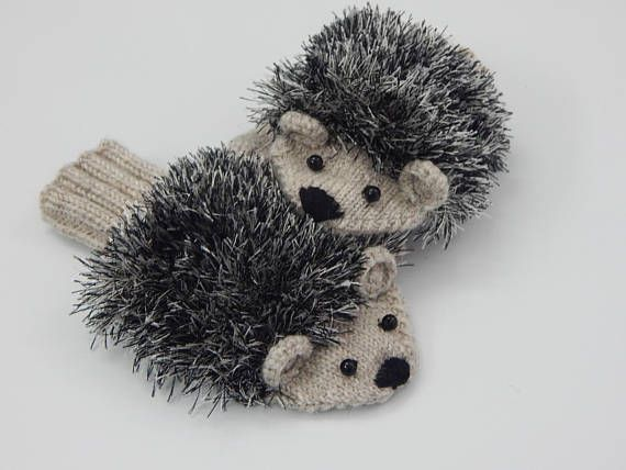 Hedgehog mittens for  baby Hand knitted winter animal