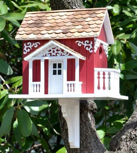 Red Swedish Cottage Birdhouse by Home Bazaar ~ Mounting Bracket Included !