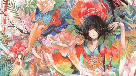 05.艶やかな着物姿の黒髪の女性の綺麗な和風イラスト壁紙画像