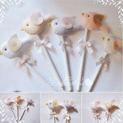 Dellicatess for Babies: Ponteiras de lápis passarinho