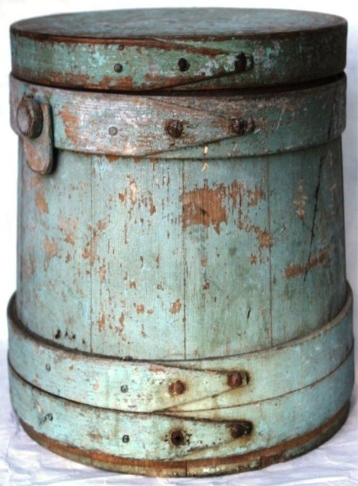 EARLY 19TH C COVERED WOODEN FIRKIN - OLD BLUE.
