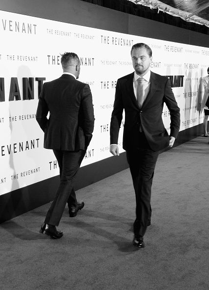 Actors Tom Hardy and Leonardo DiCaprio arrive at the Premiere Of 20th Century Fox And Regency Enterprises'...