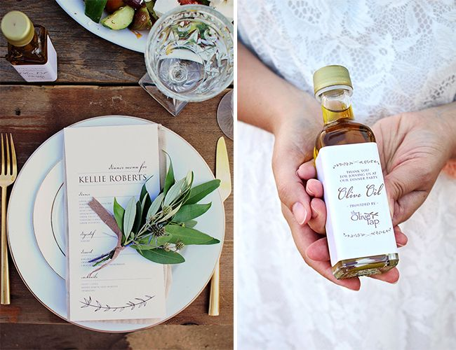 Olive oil wedding favors for a Grecian wedding