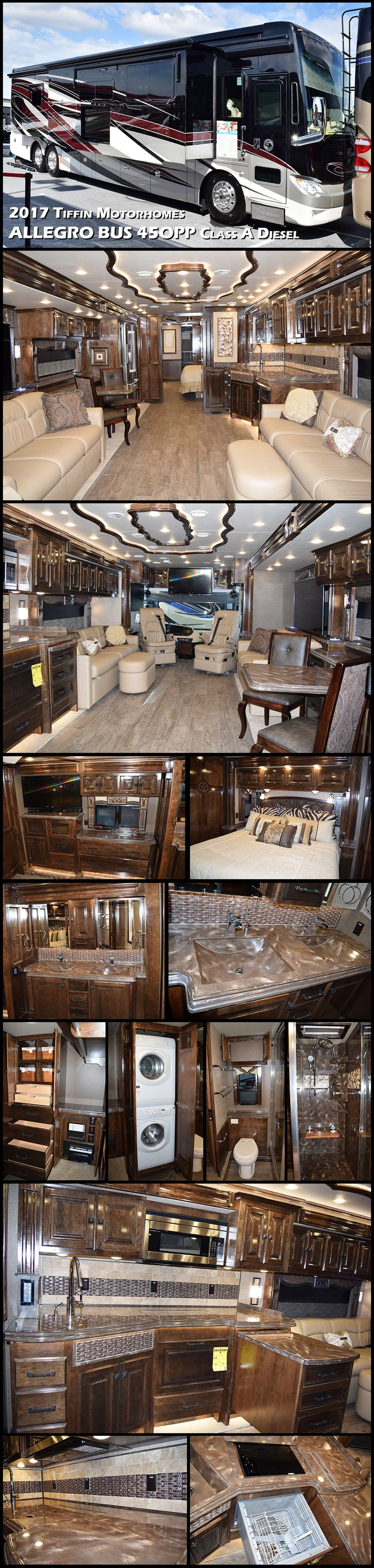 2017 Tiffin Motorhomes ALLEGRO BUS 45OPP — Home, sweet motorhome. Luxury is well addressed in Tiffins most popular coach for full-time RVers. Combining five-star amenities with down-home comfort, this coach is big on space, generous with features, and one of the most powerful diesel pushers on the road.