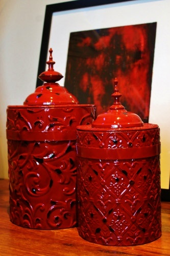 thai style red metal canisters