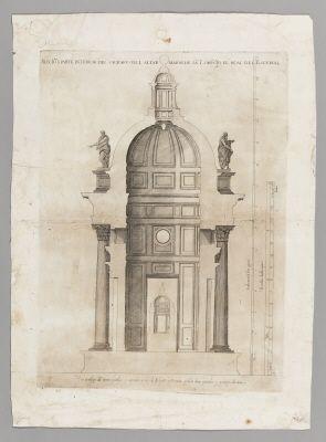Sektionsritning av huvudaltaret i kyrkan San Lorencio el Real i Escorial, 1583.