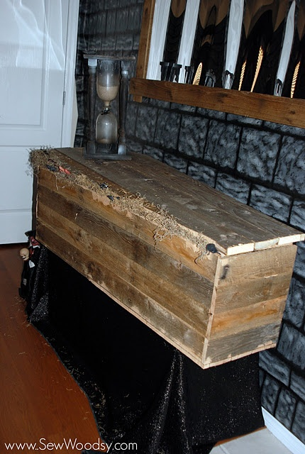 halloween rustic wood coffin made from upcycled pallet wood