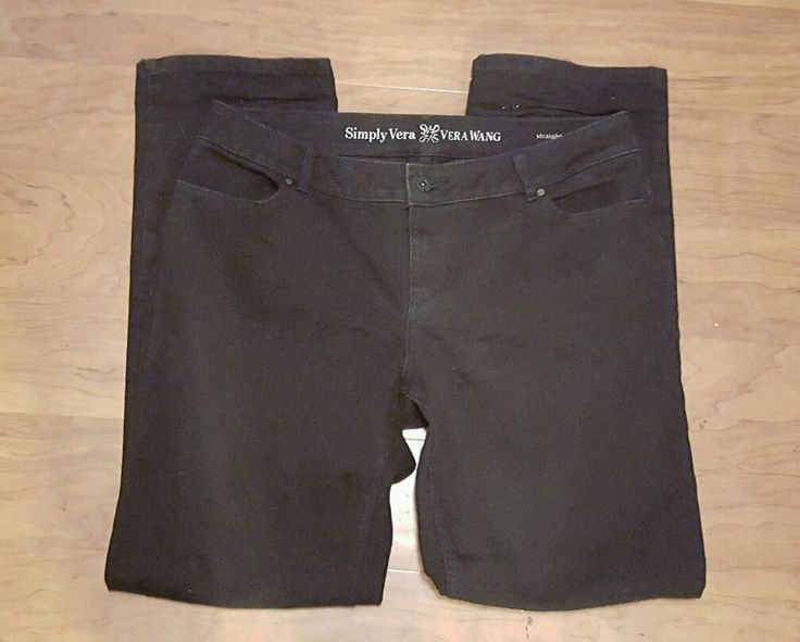 Simply Vera Wang Women's jeans Straight Black Size 12 Flap Pockets #simplyvera #boot