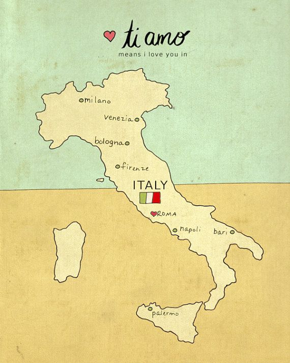 Wall Art Map Travel Poster - I Love You in Italy No. 1 - European Travel Illustration Print