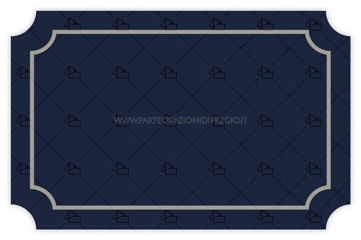 Partecipazione di matrimonio - dimensione: 17 x 11 - forma: serena - carta: Gmund Cotton - Power Blue - 300, 600, 900 gr. - linea: cornici Serena - modello: cornice Serena interna distanza mm 10 spessore 6 pt - lavorazione press: cornici