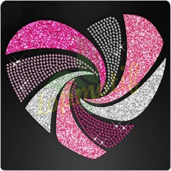 Iron-on Heat Transfer Loving Heart Fashion Bling Bling Glitter sticker