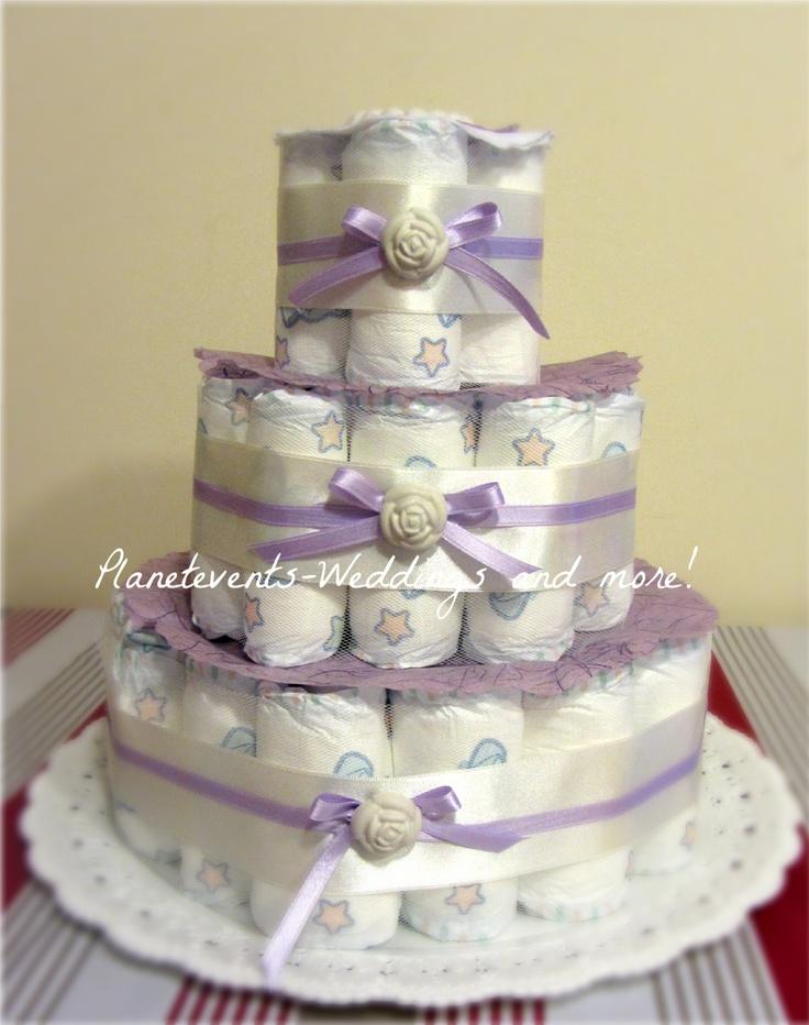 per una nascita o per un baby shower...la torta di pannolini!!
