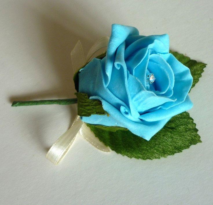 Turquoise diamante buttonhole