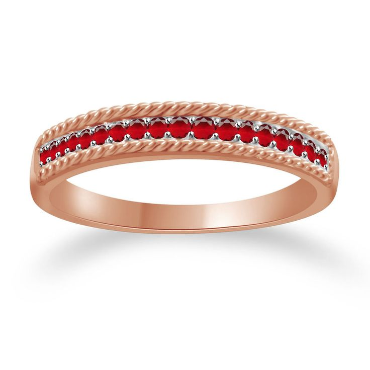 0.20ct Round Cut Ruby Rose Gold Anniversary Band Ring + Black Diamond #Findingsnjewelry #AnniversaryBand