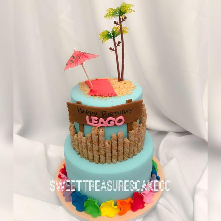 Hawaiian beach theme cake for Leago🏝🏖.  #leago #sweettreasures #sweettreasurescakeco #birthday #birthdaycake #wafers #palmtrees #beachumbrella #flowers #hawaiian #beach #cake #celebrations #celebrationcakes #southafrica #johannesburg