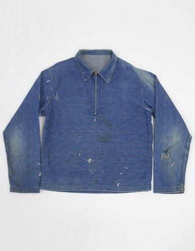 Vintage 30s Denim WW2 Navy Pullover SELVEDGE Trim STENCIL Military Shirt 42 N2 | eBay