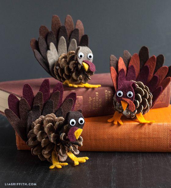 Is it too early to start thinking about Thanksgiving? Love these pinecone turkeys from Lia Griffith.