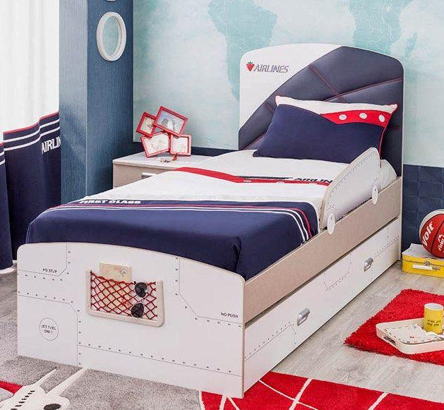 Μονό παιδικό κρεβάτι με θέμα το αεροπλάνο μαζί με το συρτάρι του
