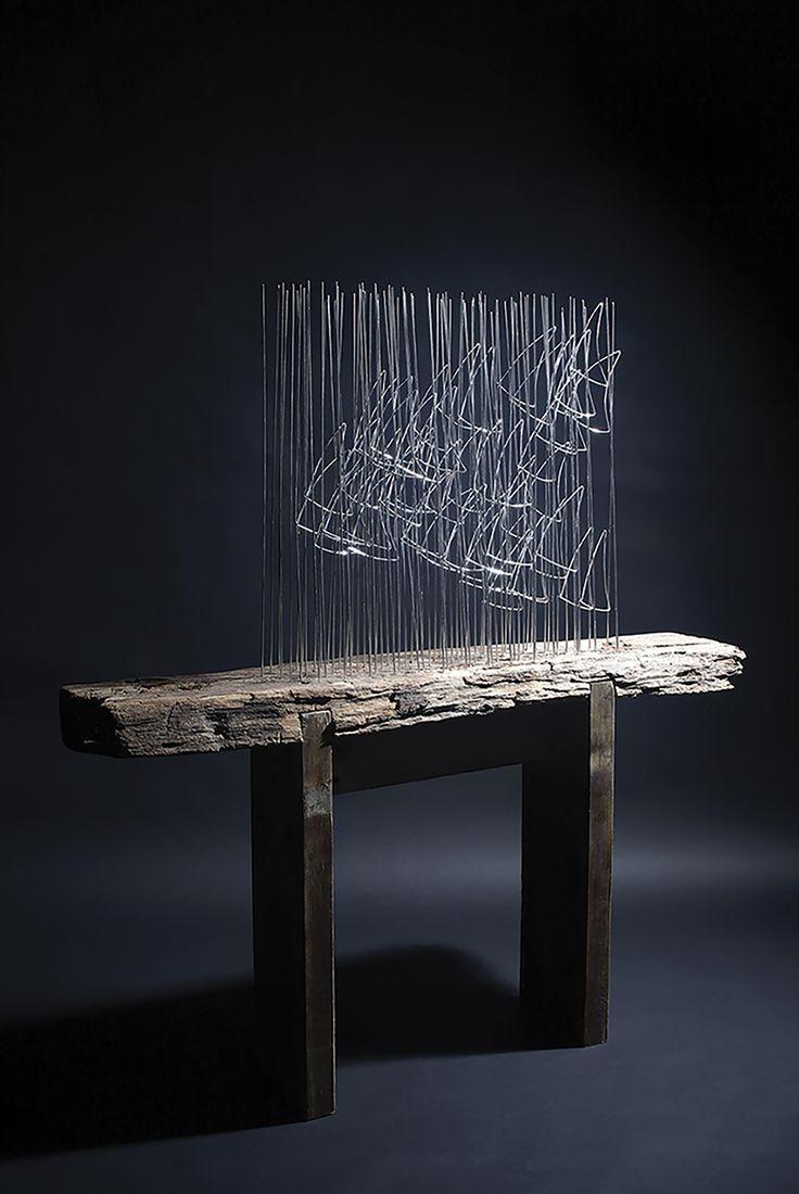 Küçük Balık Sürüsü (2010)Asamblaj, alüminyum ve ahşap,118 x 105 x 20 cmJosé Sancho Vakfı----- #JoseSanchoSmall Shoal (2010)Assemblage, aluminium and wood,118 x 105 x 20 cmJosé Sancho Foundation