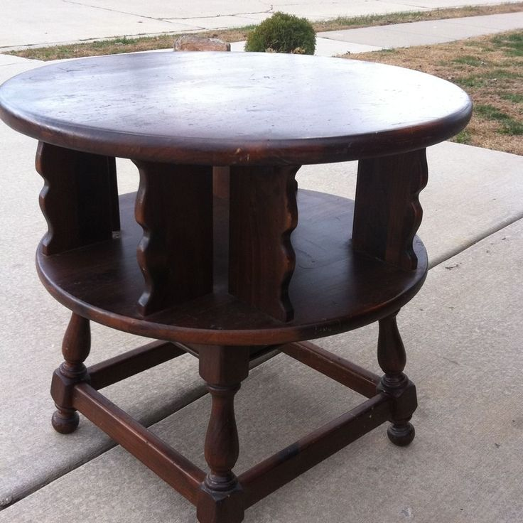 Copper Top Coffee Table Ethan Allen: Ethan Allen Dark Antiqued Pine Old Tavern Revolving End