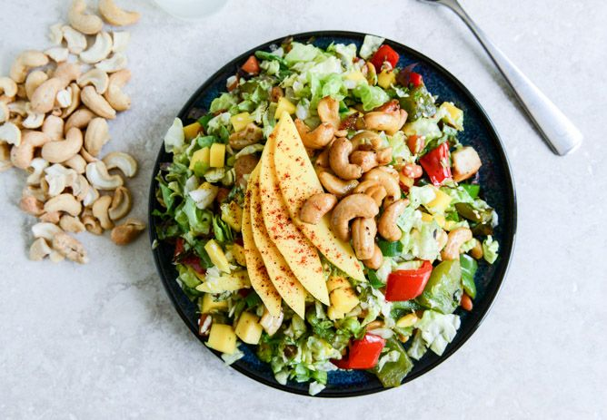 Cashew Chicken Chopped Salad with Chili Dusted Mango. - How Sweet It Is