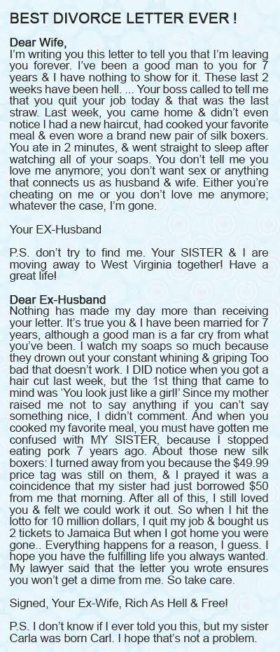 The best divorce letter ever