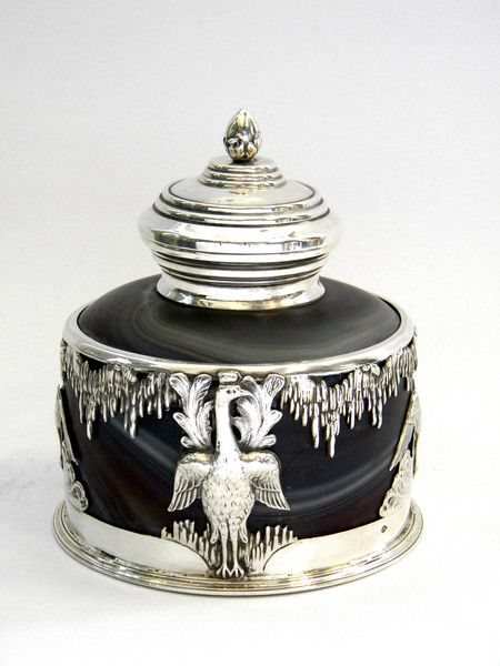 ~ Antique French Solid Silver & Glass Inkwell c. 1890 John Bull Antiques ~ antique-silver.co.uk