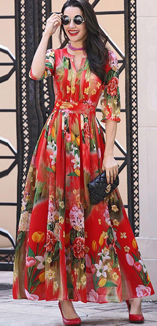 Chiffon Floral Print Waist Maxi Dress