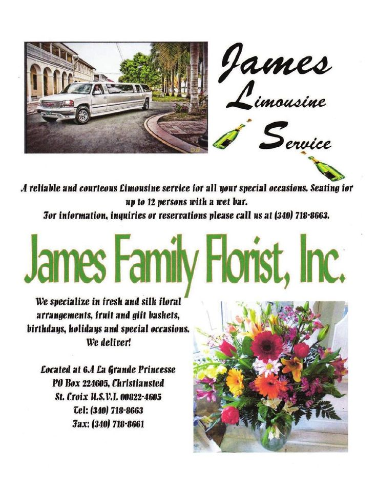 For your wedding James Limousine Services – ride in class and for beautiful and elegant flowers James Family Florist, Inc. in St. Croix Virgin Islands. #stcroix #weddings #usvi #virginislandsweddings #vinice #brides #elegence #flowers #limousine #engaged #birthdays #ClippedOnIssuu from Elegant St.Croix Caribbean Weddings 2015 Issue