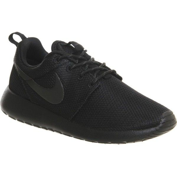 NIKE Roshe run trainers ($110) ❤ liked on Polyvore featuring shoes, sneakers, black anthracite, mesh sneakers, lace up shoes, round toe sneakers, grip trainer and mesh shoes