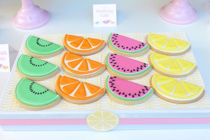 Cookies from a Fruity Lemonade Stand Birthday Party via Kara's Party Ideas | KarasPartyIdeas.com (30)