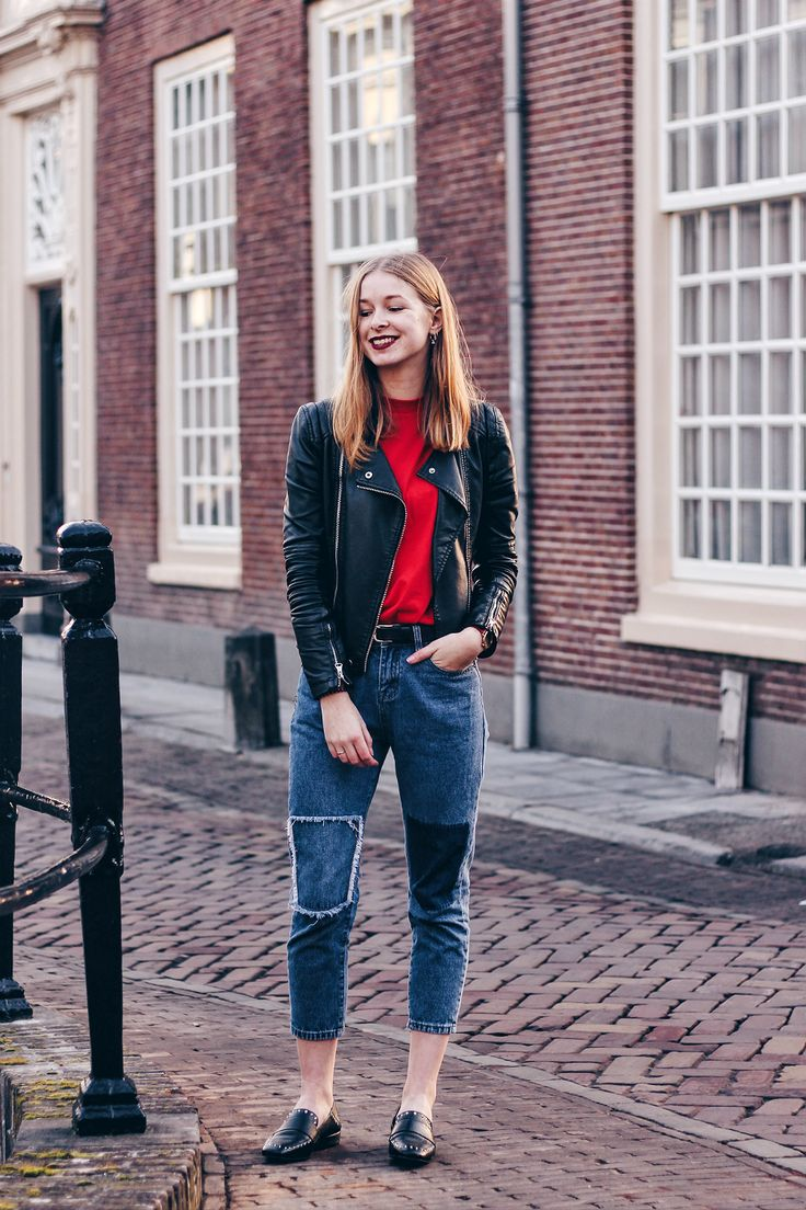 OUTFIT | Fashion blogger from Amsterdam wearing a patched jeans with studded loafers | outfit, style, inspiration, denim, summer, spring,