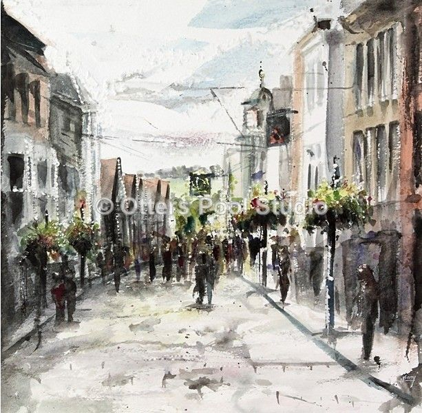 """Guildford High Street"" by Hester Berry, exclusive to Otters Pool Studio. Limited edition of just 20 fine art giclee prints from an original watercolour. Image size 35x34cm approx."