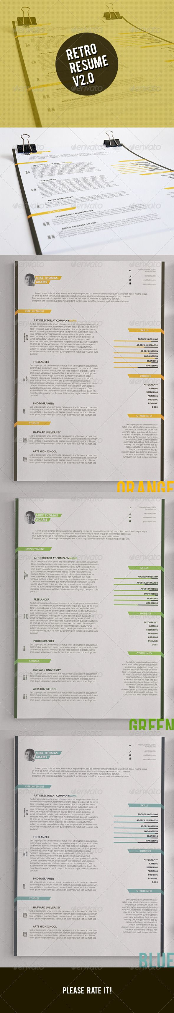 Retro Resume Template design Download httpgraphicrivernetitem 38