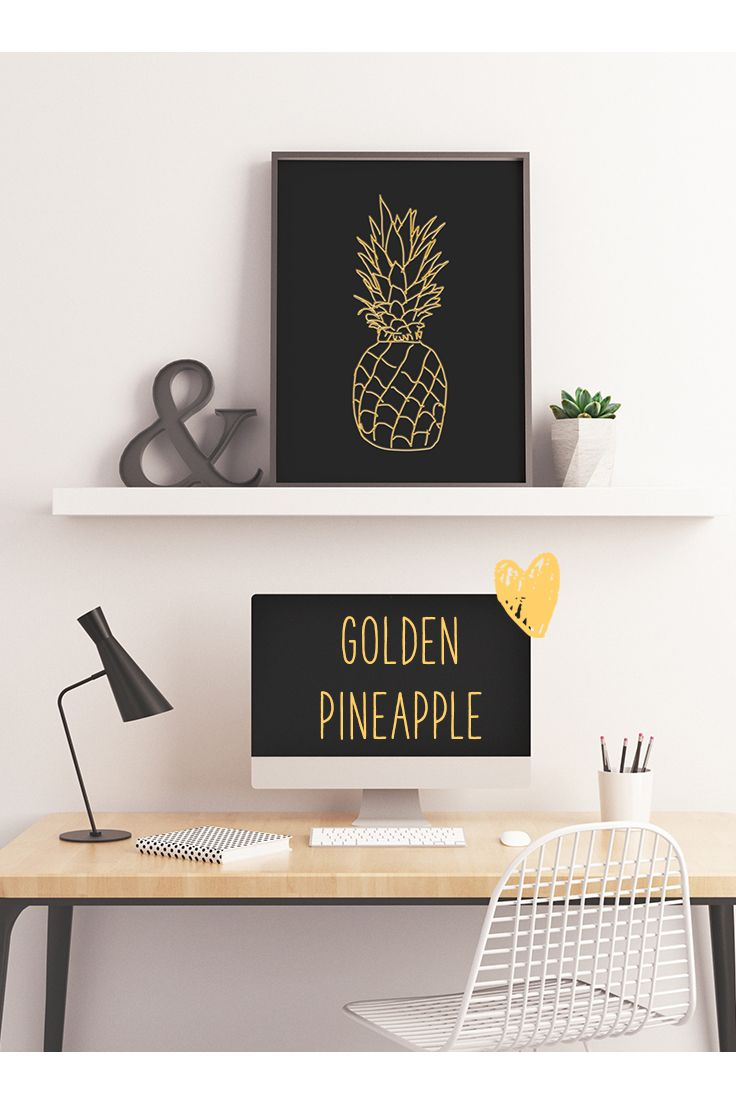 An elegant black and gold pineapple printable ♡ Perfect for modern, trendy decor for your office, living room and bedroom.