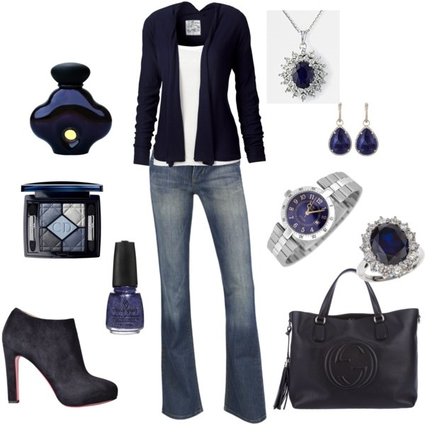 .: Women Fashion, Casual Style, Woman Fashion, Blue Outfits, Ankle Boots, Black And White, Cute Outfits, Casual Outfits, Dark Colors