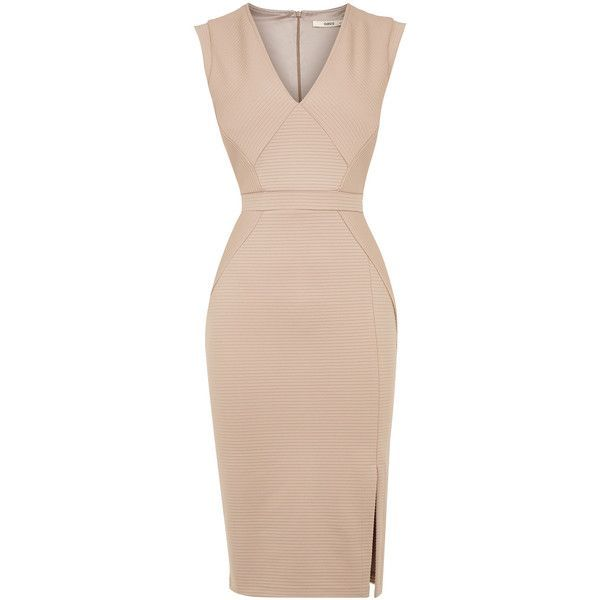 OASIS Rib Pencil Dress found on Polyvore featuring dresses, pink, party dresses, pink party dress, pink glitter dress, going out dresses and pink pencil dress