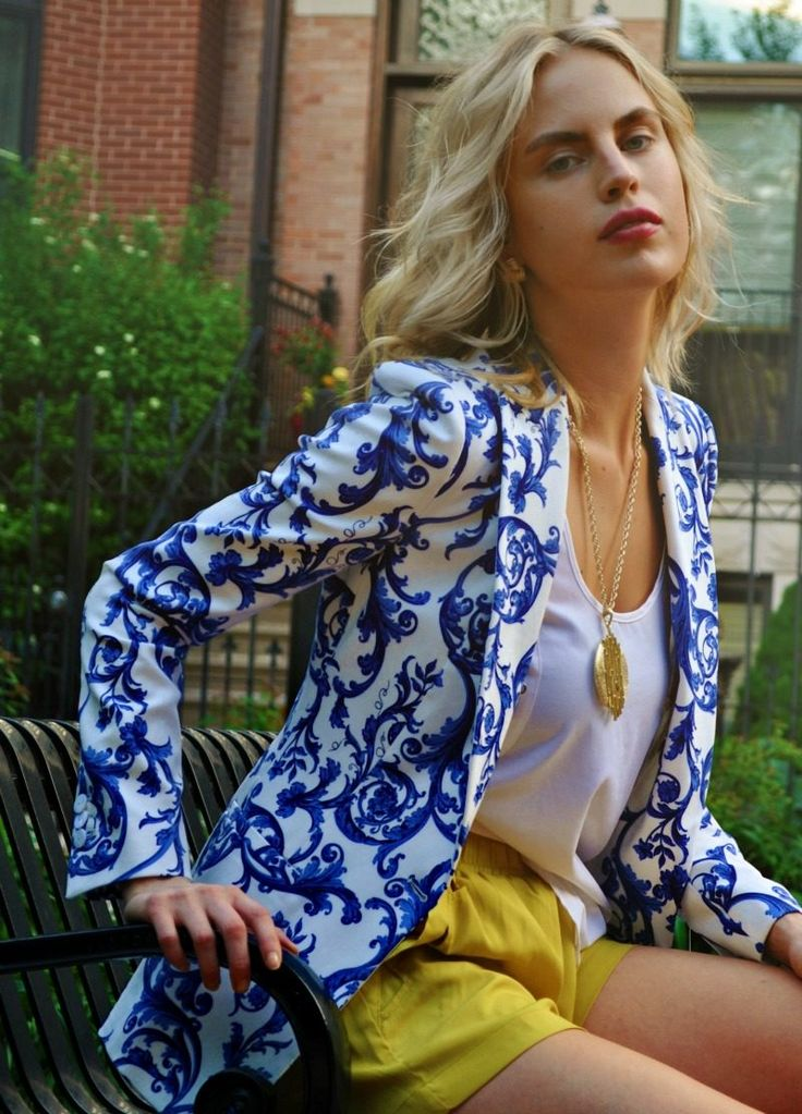 patterned blue & white blazer, yellow shorts, white top
