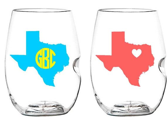 Set of 4 State Monogrammed Govino Wine Tumblers I love these for Florida or Tennessee.