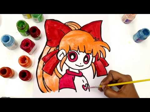 Powerpuff Girls Z Coloring Book Blossom Momoko Akatsutsumi Surprise Egg and Toy Collector SETC - YouTube